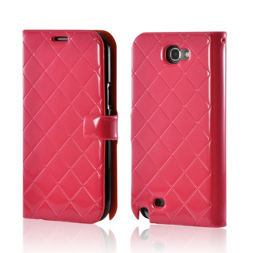 Hot Pink/ Orange/ Black Leather Stitched Diary Premium Crystal Silicone Case w/ ID Slots for Samsung Galaxy Note 2