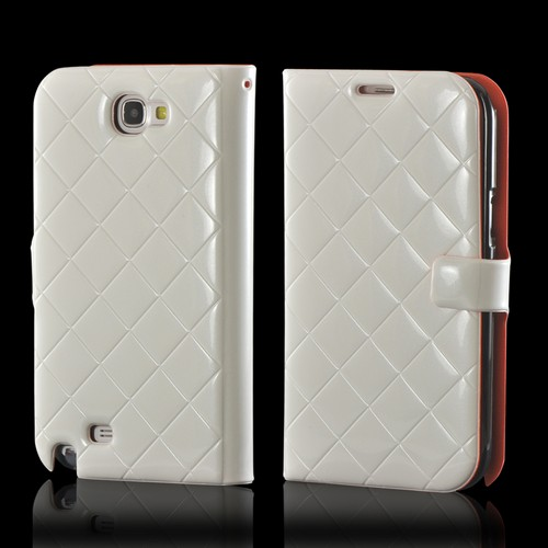 White/ Orange/ Black Leather Stitched Diary Premium Crystal Silicone Case w/ ID Slots for Samsung Galaxy Note 2