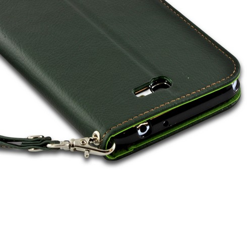 Army Green/ Green Mount Leather Diary Flip Case w/ ID Slots, Stand & Wriststrap for Samsung Galaxy Note 2
