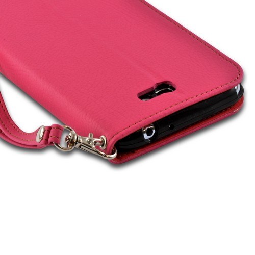 Pink/ Red Mount Leather Diary Flip Case w/ ID Slots, Stand & Wriststrap for Samsung Galaxy Note 2