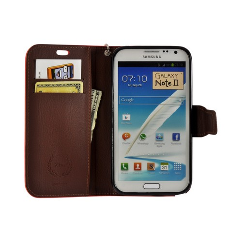 Red/ Brown Mount Leather Diary Flip Case w/ ID Slots, Stand & Wriststrap for Samsung Galaxy Note 2