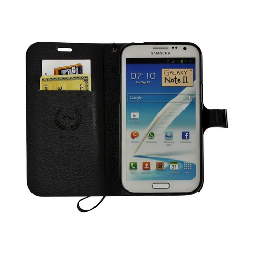 Brown/ Black Point Diary Flip Case w/ ID Slots, Stand & Wriststrap for Samsung Galaxy Note 2