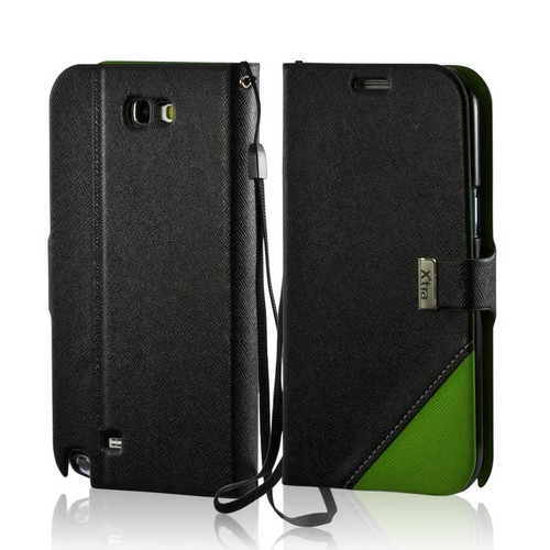 Black/ Green Point Diary Flip Case w/ ID Slots, Stand & Wriststrap for Samsung Galaxy Note 2