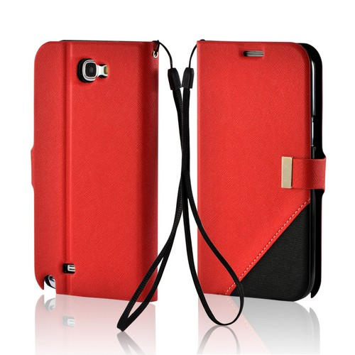 Red/ Black Point Diary Flip Case w/ ID Slots, Stand & Wriststrap for Samsung Galaxy Note 2