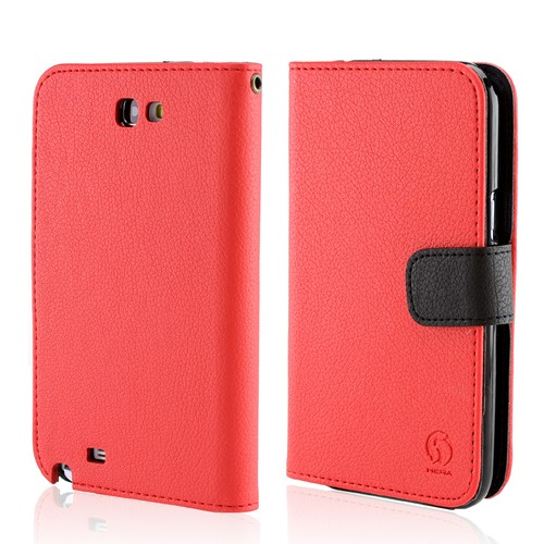 Hera Red/Black Leather Diary Flip Case w/ ID Slots for Samsung Galaxy Note 2