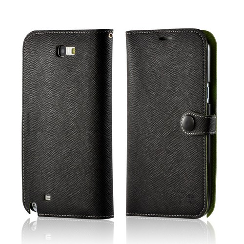 Black Ultra Slim Smart Zone Faux Leather Diary Flip Case w/ ID Slots for Samsung Galaxy Note 2