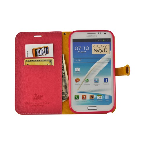 Red Ultra Slim Smart Zone Faux Leather Diary Flip Case w/ ID Slots for Samsung Galaxy Note 2