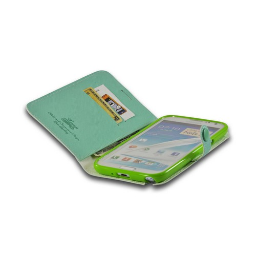 Turquoise Ultra Slim Smart Zone Faux Leather Diary Flip Case w/ ID Slots for Samsung Galaxy Note 2