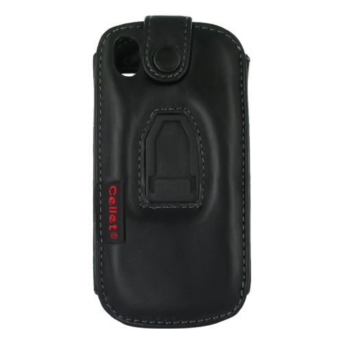 Premium Samsung Instinct S30 Leather Case w/ Swivel Belt Clip - Black