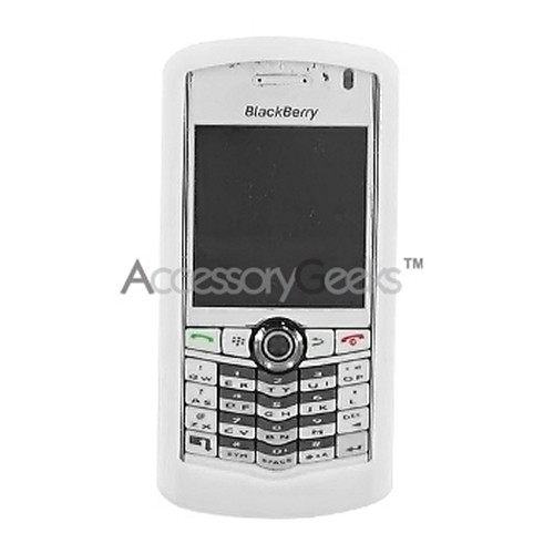 Blackberry Pearl 8100 Silicone Case, Rubber Skin - Solid White