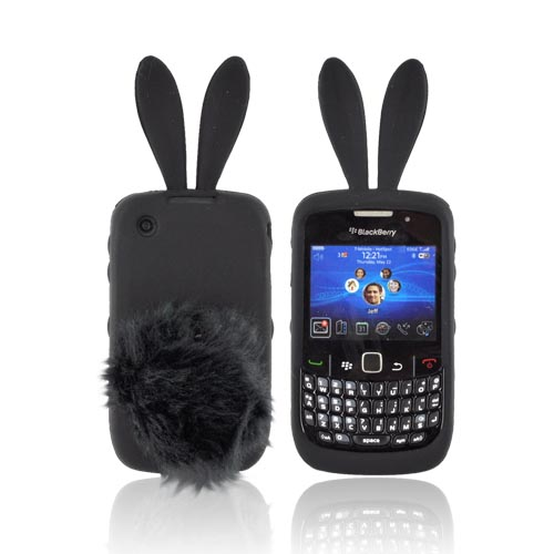 Blackberry Curve 3G 9330, 9300, 8520, 8530 Silicone Case w/ Fur Tail Stand - Black Bunny