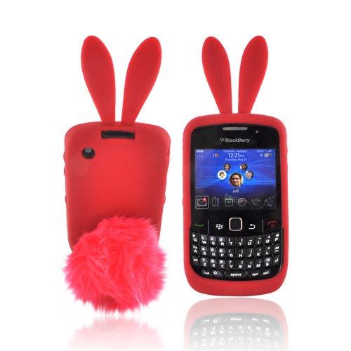 Blackberry Curve 3G 9330, 9300, 8520, 8530 Silicone Case w/ Fur Tail Stand - Red Bunny