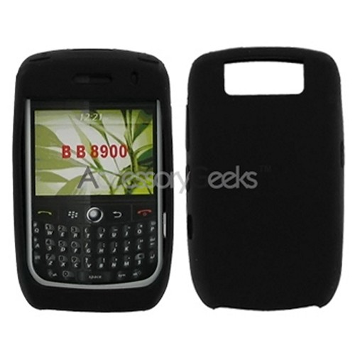 Blackberry Curve 8900 Silicone Case, Rubber Skin - Black