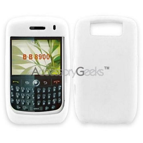 Blackberry Curve 8900 Silicone Case, Rubber Skin - Solid White