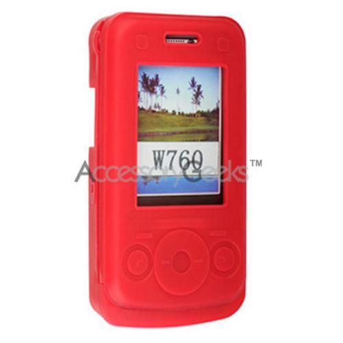 Sony Ericsson W760 Walkman Silicone Case, Rubber Skin - Red