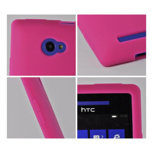 Hot Pink Silicone Case for HTC 8X