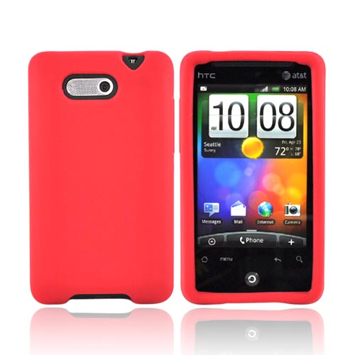 HTC Aria Silicone Case, Rubber Skin - Red