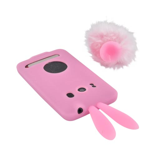HTC EVO 4G Silicone Case w/ Fur Tail Stand - Baby Pink Bunny