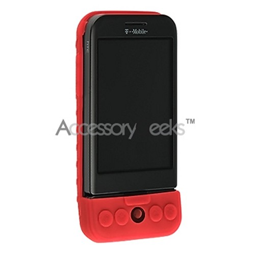 HTC Google G1 Silicone Case, Rubber Skin - Red