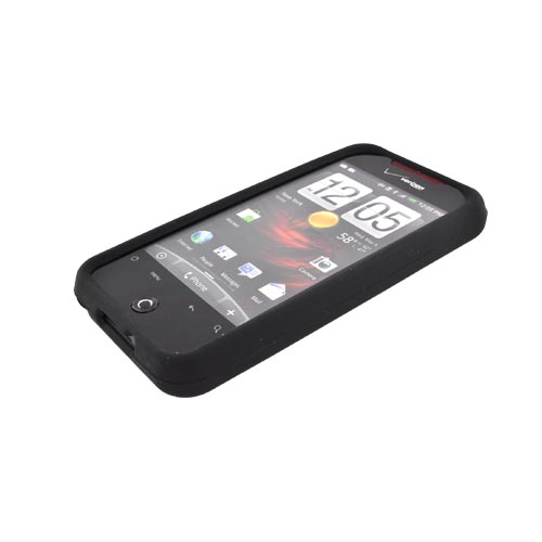 HTC Droid Incredible Silicone Case, Rubber Skin - Black