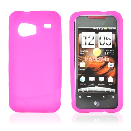 HTC Droid Incredible Silicone Case, Rubber Skin - Hot Pink