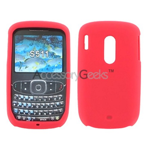 HTC Snap S511 Silicone Case, Rubber Skin - Red