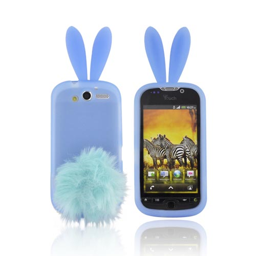 T-Mobile MyTouch 4G Silicone Case w/ Fur Tail Stand - Baby Blue Bunny