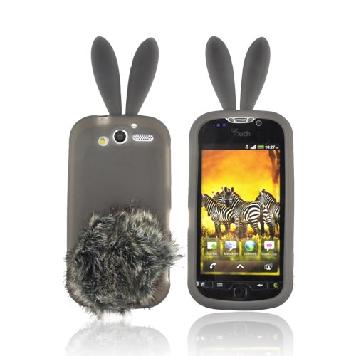 T-Mobile MyTouch 4G Silicone Case w/ Fur Tail Stand - Smoke Bunny
