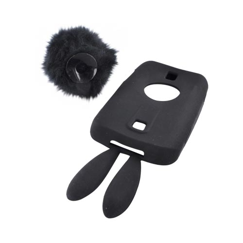 Huawei Ascend M860 Silicone Case w/ Fur Tail Stand - Black Bunny