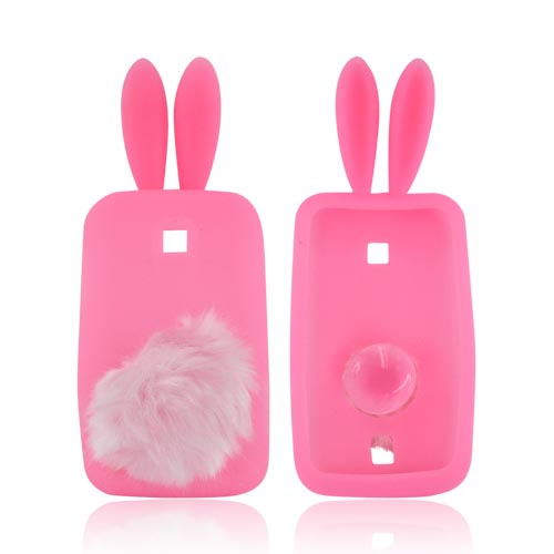 Huawei Ascend M860 Silicone Case w/ Fur Tail Stand - Baby Pink Bunny