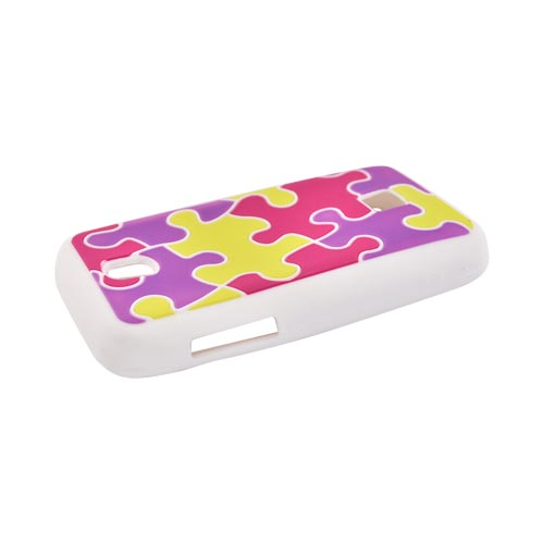 Huawei Ascend M860 Silicone Case - Purple/Pink/Yellow Puzzle Pieces
