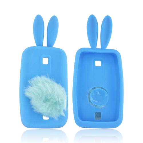 Huawei Ascend M860 Silicone Case w/ Fur Tail Stand - Sky Blue Bunny