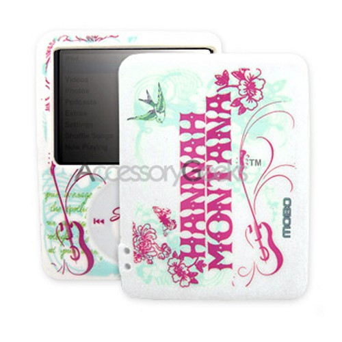 Licensed Disney Hannah Montana Apple Nano 3 Silicone Case w/ 2 Straps- White