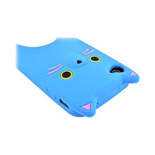 Premium AT&T/ Verizon Apple iPhone 4, iPhone Cute Cat Silicone Case - Blue/ White