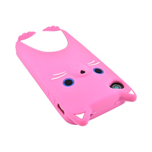 Premium AT&T/ Verizon Apple iPhone 4, iPhone Cute Cat Silicone Case - Pink/ White