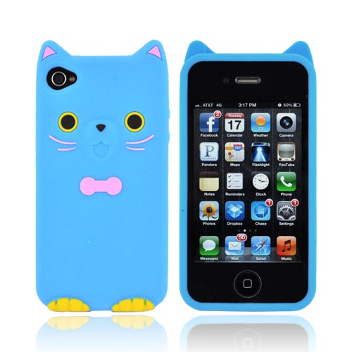 Premium AT&T/ Verizon Apple iPhone 4, iPhone Cute Cat w/ Bow Tie Silicone Case - Blue/ White
