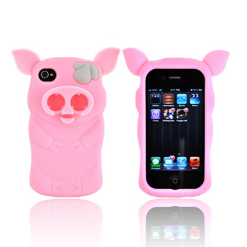 Premium Sniffie Piggie Apple iPhone 4/4s Silicone Case w/ Cord Wrapper & Earbud Holder - Baby Pink