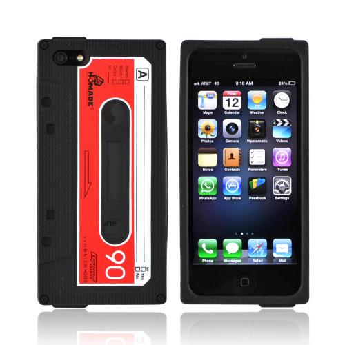 Apple iPhone SE / 5 / 5S  Case,  [Black Cassette Tape Design]  Slim & Flexible Anti-shock Crystal Silicone Protective TPU Gel Skin Case Cover