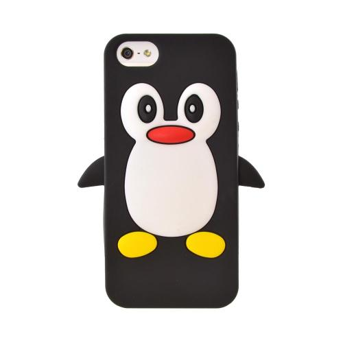 Apple iPhone 5/5S Silicone Case - Black Penguin