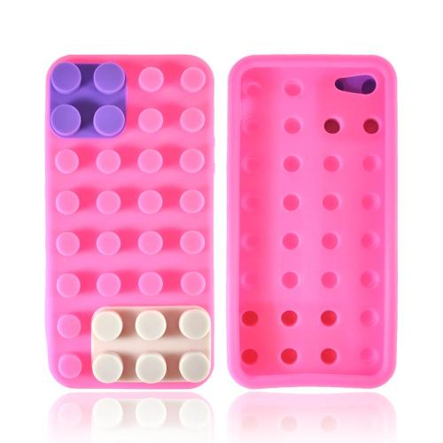 Apple iPhone SE / 5 / 5S  Case,  [Pink/ Purple/ Gray Blocks]  Slim & Flexible Anti-shock Crystal Silicone Protective TPU Gel Skin Case Cover