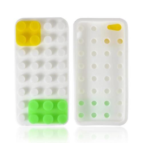 Apple iPhone SE / 5 / 5S  Case,  [White/ Yellow/ Green Blocks]  Slim & Flexible Anti-shock Crystal Silicone Protective TPU Gel Skin Case Cover