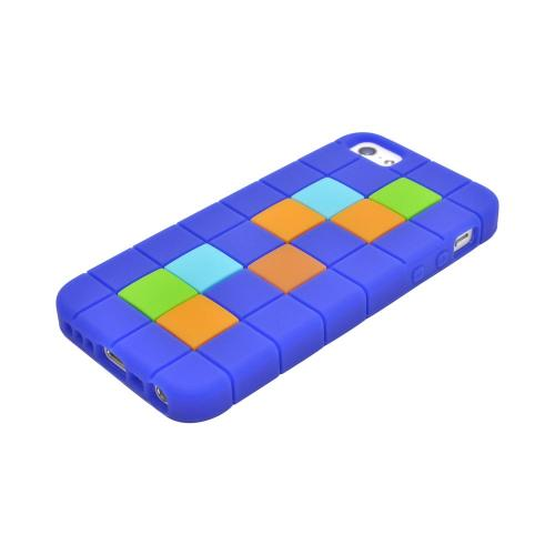 Apple iPhone 5/5S Silicone Case - Green/ Blue/ Brown Blocks on Dark Blue