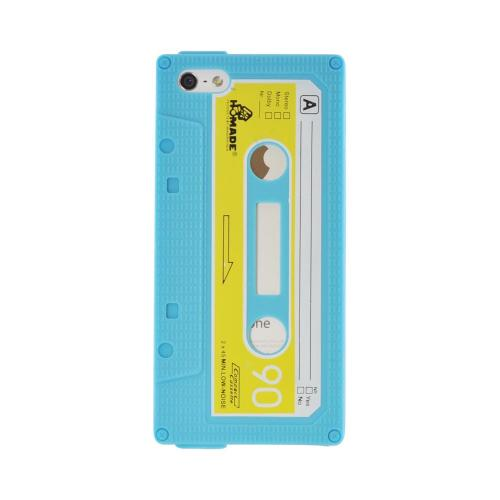 Apple iPhone 5/5S Silicone Cassette Tape Design Case - Blue