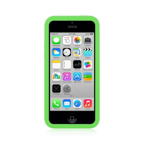 Lime Green Silicone Skin Case w/ Holes for Apple iPhone 5C