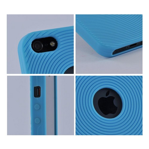 Apple iPhone SE / 5 / 5S  Case,  [Baby Blue Circles]  Slim & Flexible Anti-shock Crystal Silicone Protective TPU Gel Skin Case Cover w/ Textured Lines