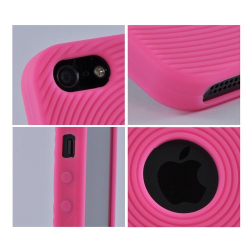 Apple iPhone SE / 5 / 5S  Case,  [Hot Pink Circles]  Slim & Flexible Anti-shock Crystal Silicone Protective TPU Gel Skin Case Cover w/ Textured Lines