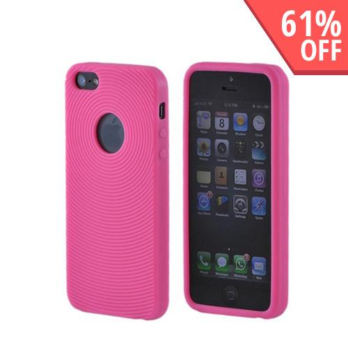 Apple iPhone 5/5S Silicone Case w/ Textured Lines - Hot Pink Circles