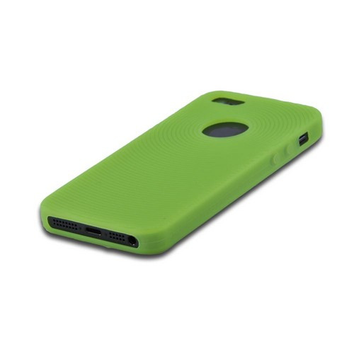 Apple iPhone 5/5S Silicone Case w/ Textured Lines - Neon Green Circles