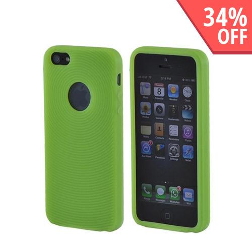 Apple iPhone SE / 5 / 5S  Case,  [Neon Green Circles]  Slim & Flexible Anti-shock Crystal Silicone Protective TPU Gel Skin Case Cover w/ Textured Lines