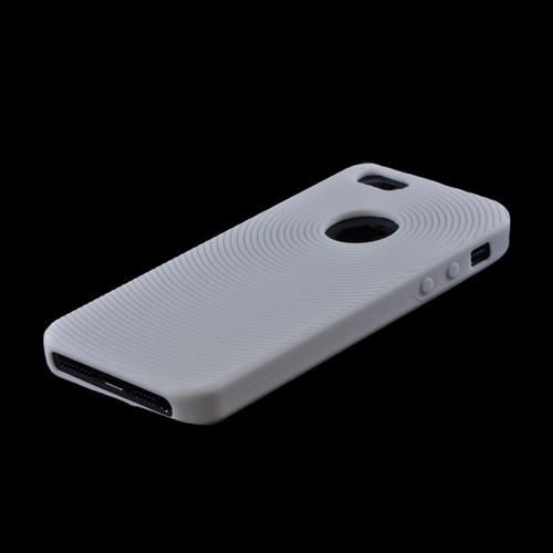 Apple iPhone 5/5S Silicone Case w/ Textured Lines - White Circles